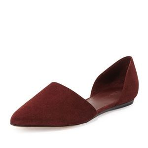 Vince Nina Suede d'Orsay Point-toe Flats RedRust